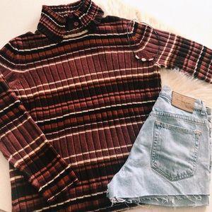 Vintage Striped Ribbed Turtleneck Sweater